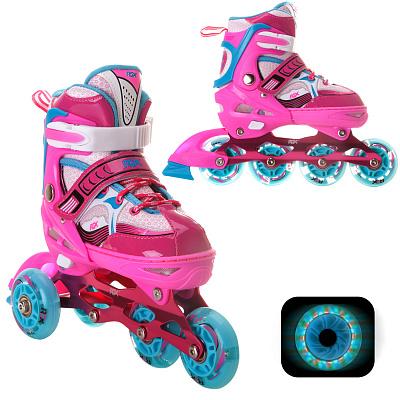 Роликовые раздвижные коньки  Sonic Pink LED подсветка колес.