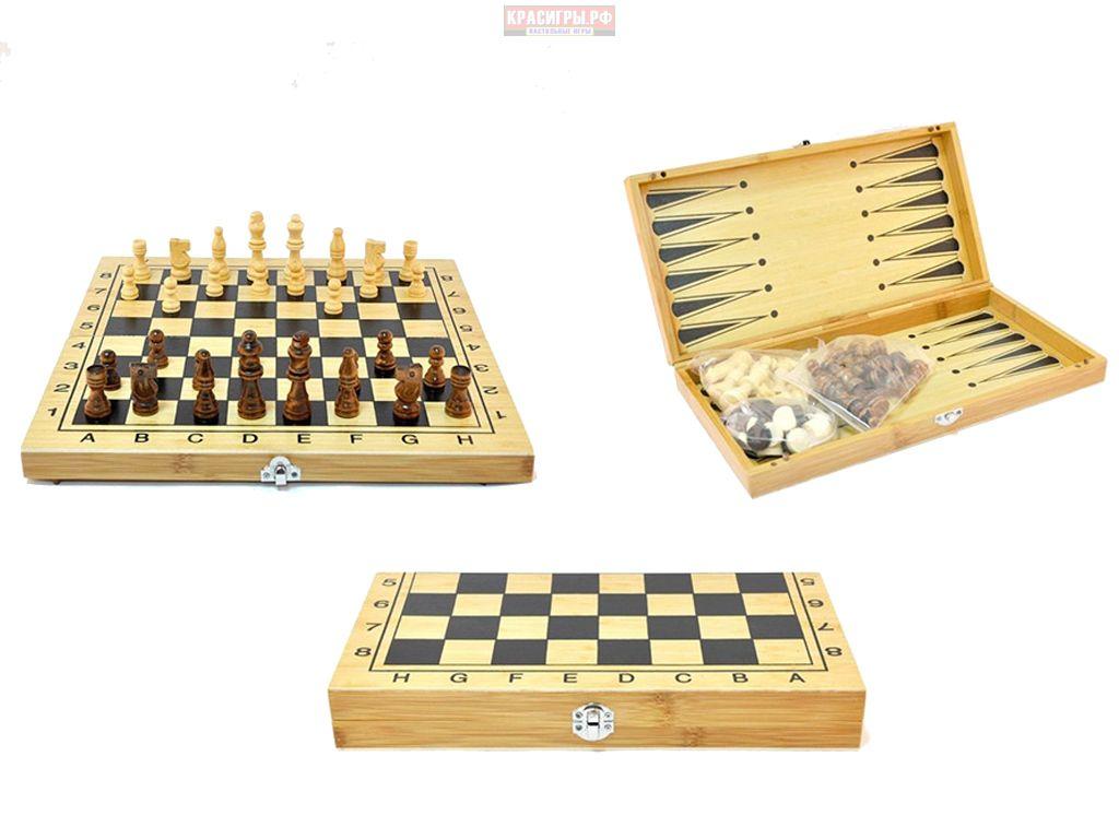 Игра 3 в 1: шашки, шахматы, нарды с деревянными фигурами