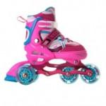 Роликовые коньки Sonic Pink LED подсветка колес